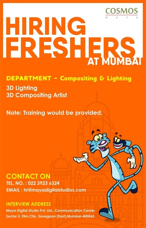 hiring freshers in lighting and compositing